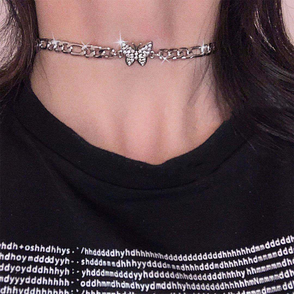 Butterfly  Necklace Alloy Fashionable Simple Full Diamond Personalized Hip Hop Street Style Necklace Silver