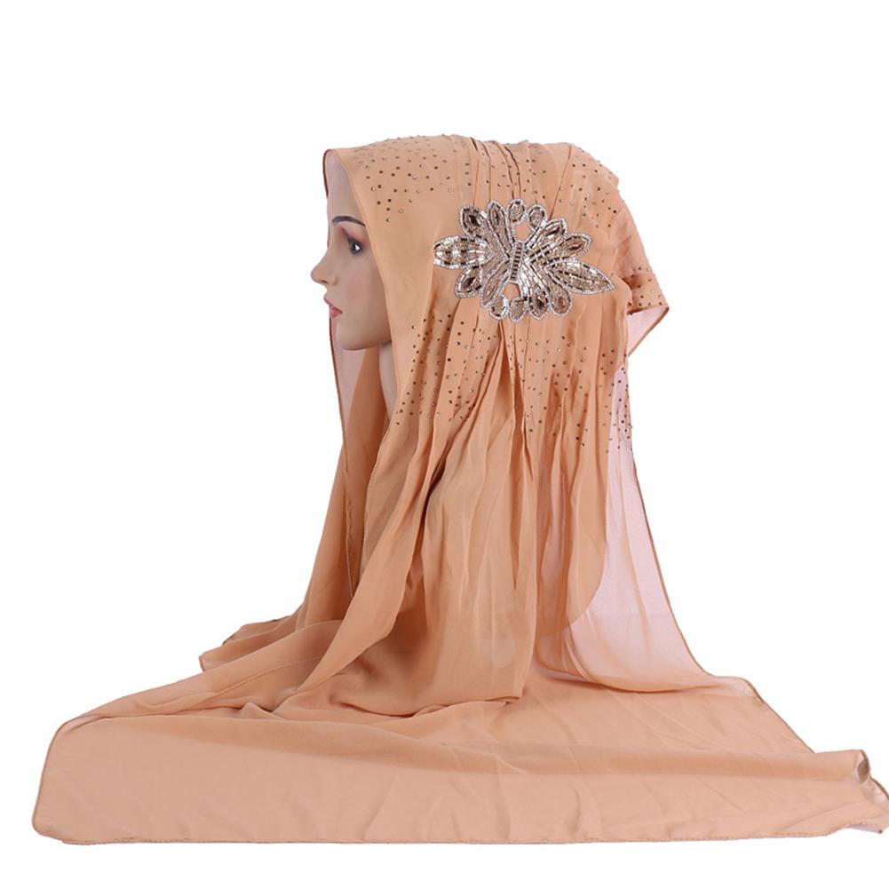 Women Fashion Diamond Flower Pattern Muslim Headscarf