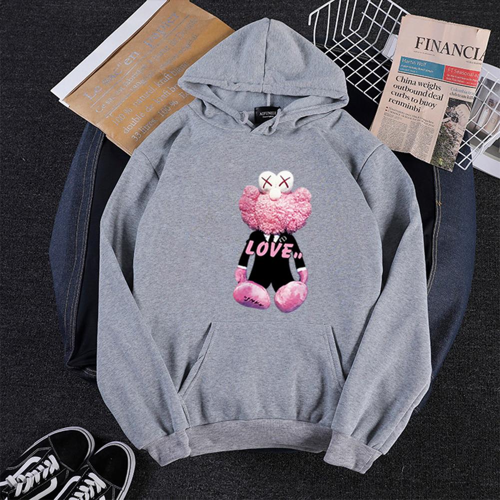 KAWS Men Women Hoodie Sweatshirt Love Bear Cartoon Thicken Autumn Winter Loose Pullover Gray_XL