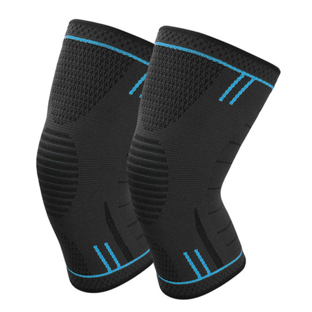 Non Slip Silicone Sports Knee Pads Support for Running Cycling Basketball Sky blue_M