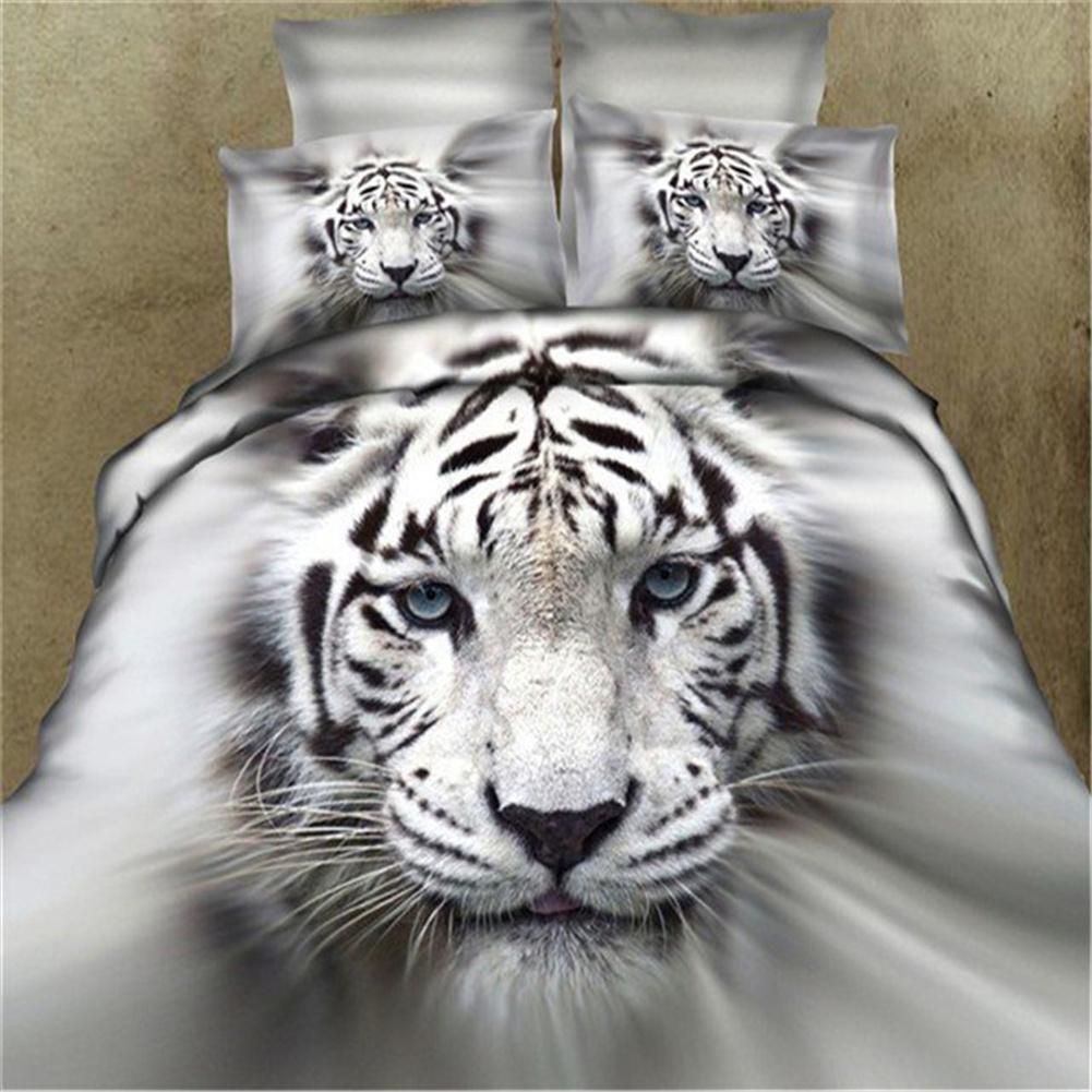 3d Tiger Printing Duvet  Cover Bedding Pillowcase Set For Boys Girls