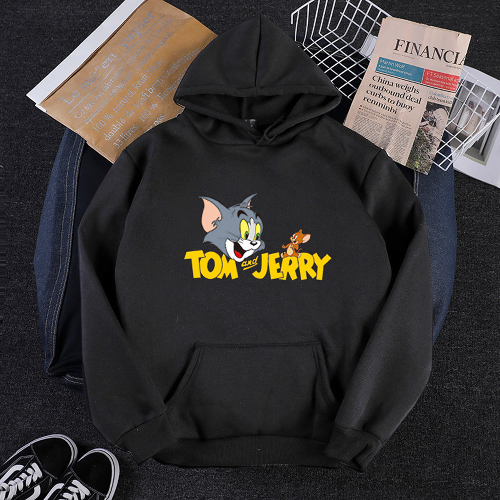 Men Women Hoodie Sweatshirt Tom and Jerry Thicken Velvet Loose Autumn Winter Pullover Tops Black_L
