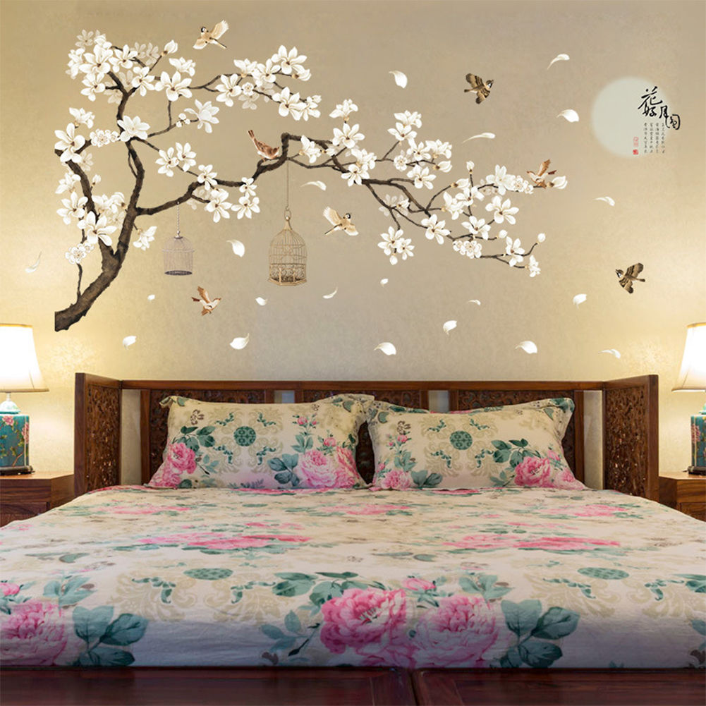 187x128cm Large Size Tree Wall Stickers Birds Flower Home Decor Wallpapers for Living Room Bedroom DIY Rooms Decoration 60*90cm *2