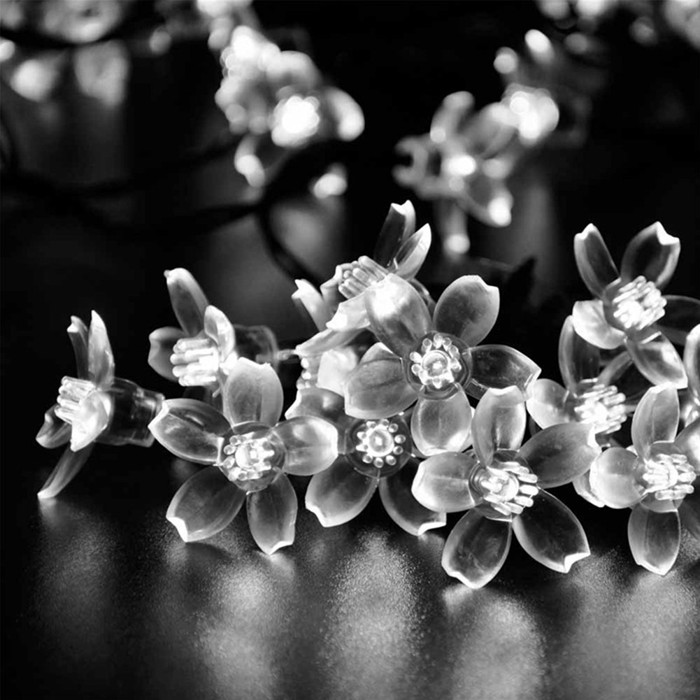7M 50 LEDs Waterproof Cherry Blossoms String Light Solar Powered Fairy Lights for Outdoor Garden Patio White light