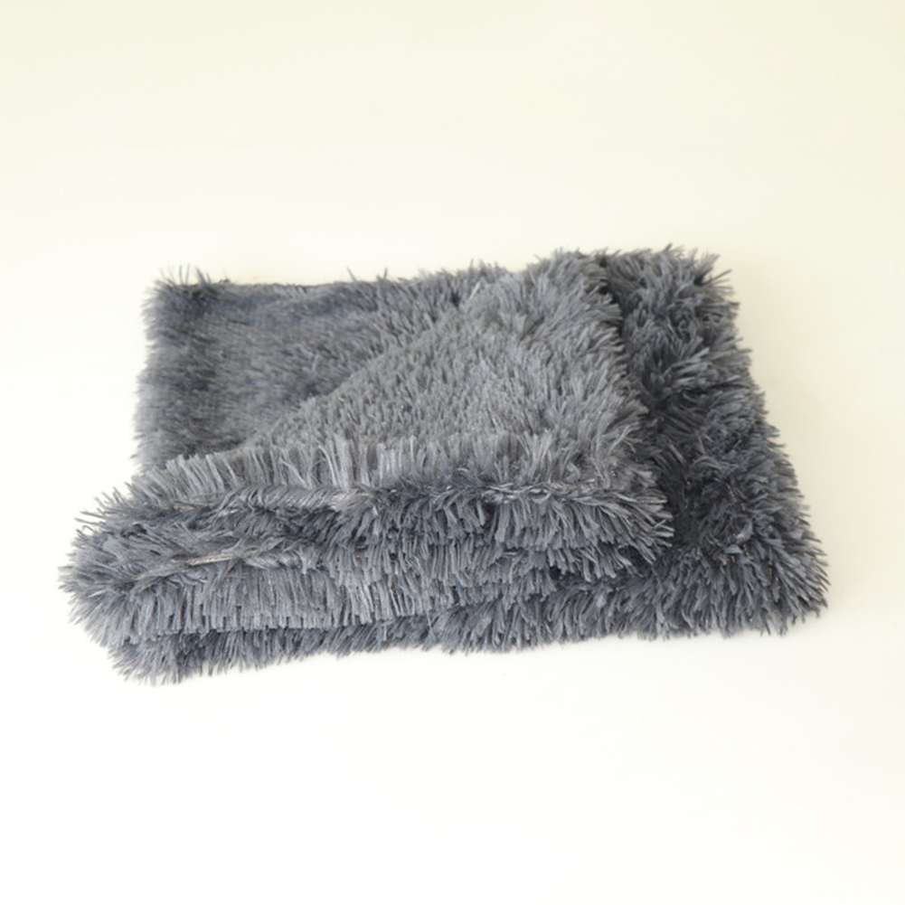 Soft Warm Double Layer Plush Sleeping Blanket Pet Bed for Small Medium Large Dog Cat Sleeping Dark gray_S: 56*36CM