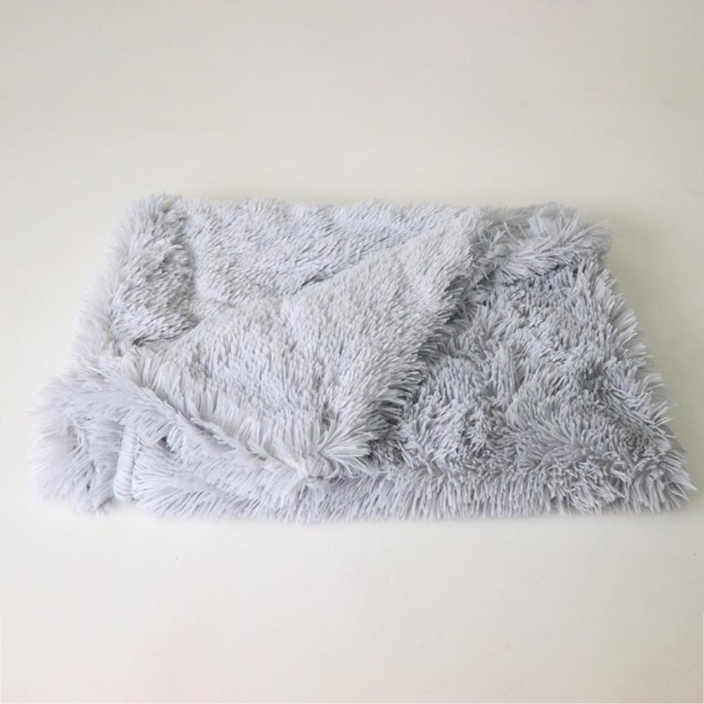 Soft Warm Double Layer Plush Sleeping Blanket Pet Bed for Small Medium Large Dog Cat Sleeping light grey_L: 100*75CM