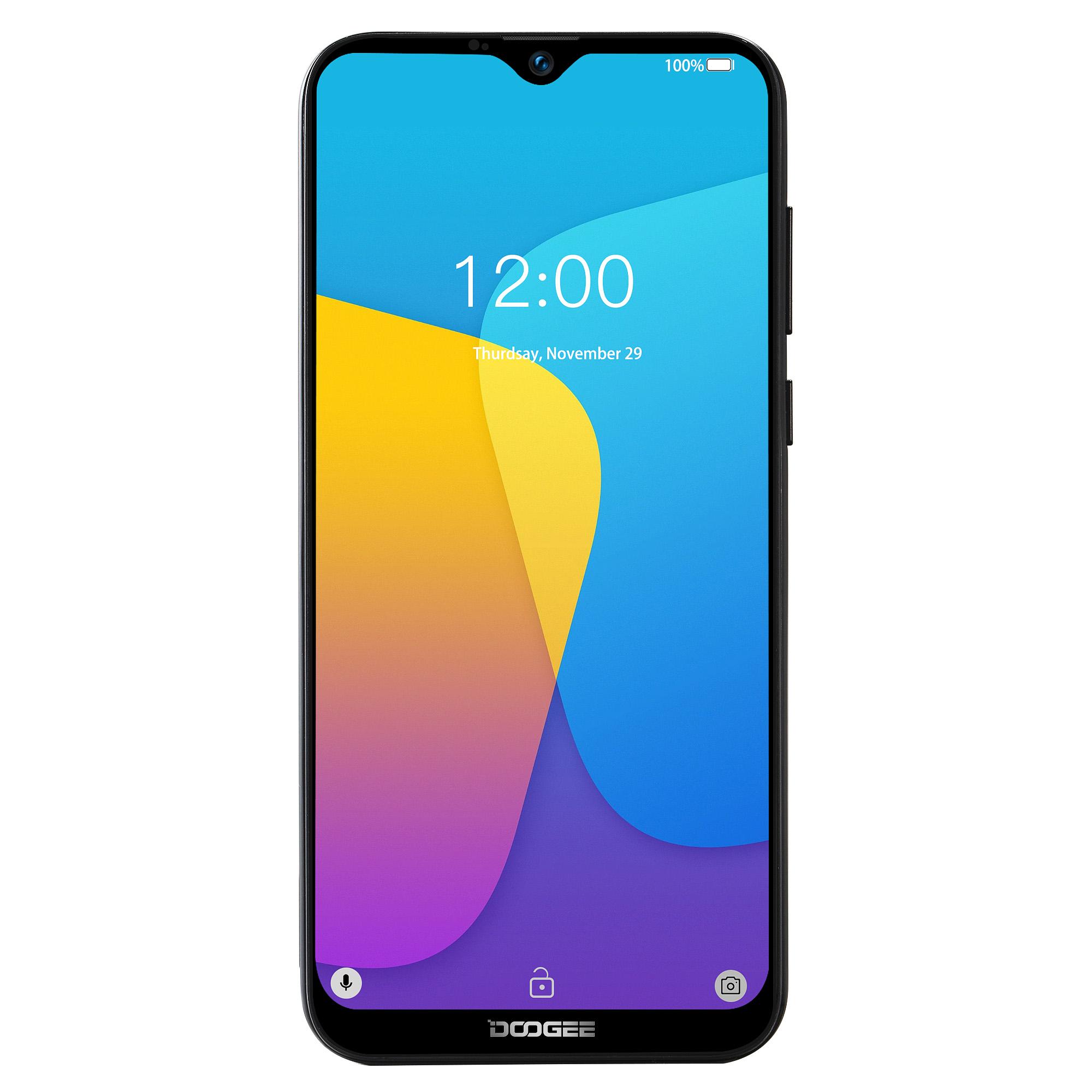 Original DOOGEE X90 Cellphone 6.1inch 19:9 Waterdrop LTPS Screen Smartphone Quad Core CPU 1GB RAM+16GB ROM 3400mAh Battery Dual SIM Cards 8MP+5MP Camera Android 8.1 OS  Black_Russian version