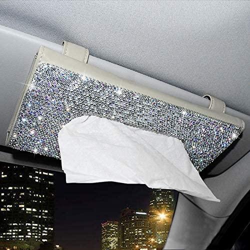 Diamond-encrusted  Tissue  Box Car Sun Visor Napkin Holder Creative Pu Leather Backseat Tissue Case Car Accessories White diamond beige