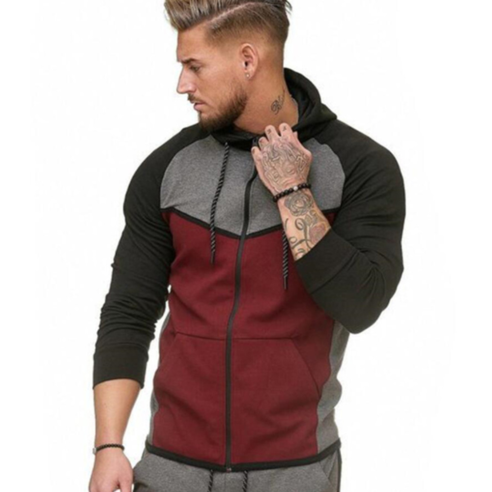Men Stitch-color Sweater Fitness Long Sleeve Casual Hooded Hoodie Outdoor Sports Jacket  Red wine_XXL