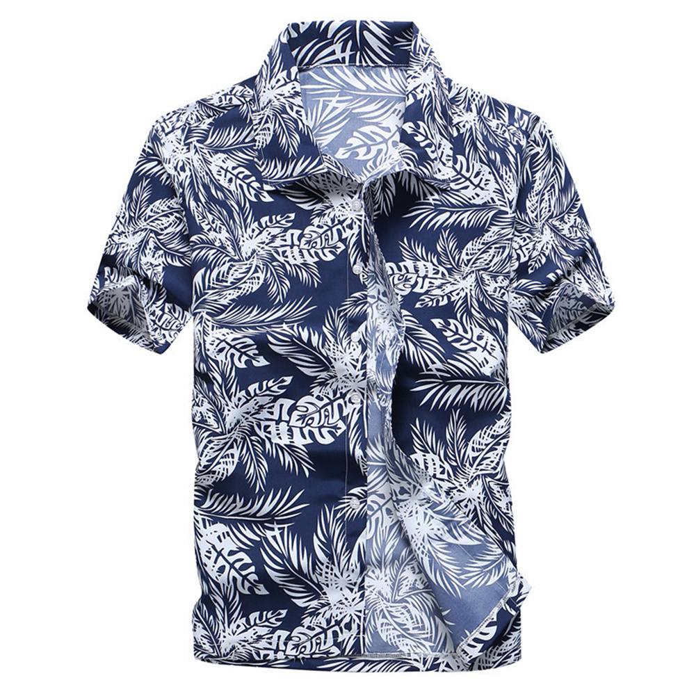 Men Fashion Short Sleeve Quick-drying Cool Printed Beach Shirt blue_XXL