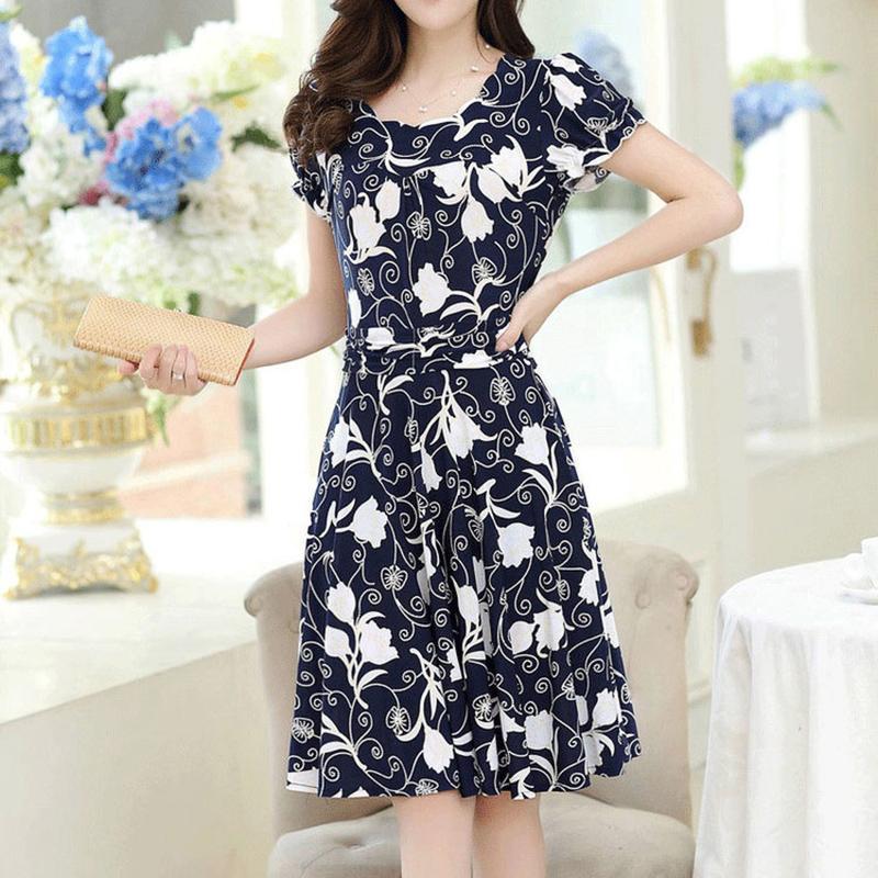 Women Summer Short Sleeve Slim Printing Dress as shown_L