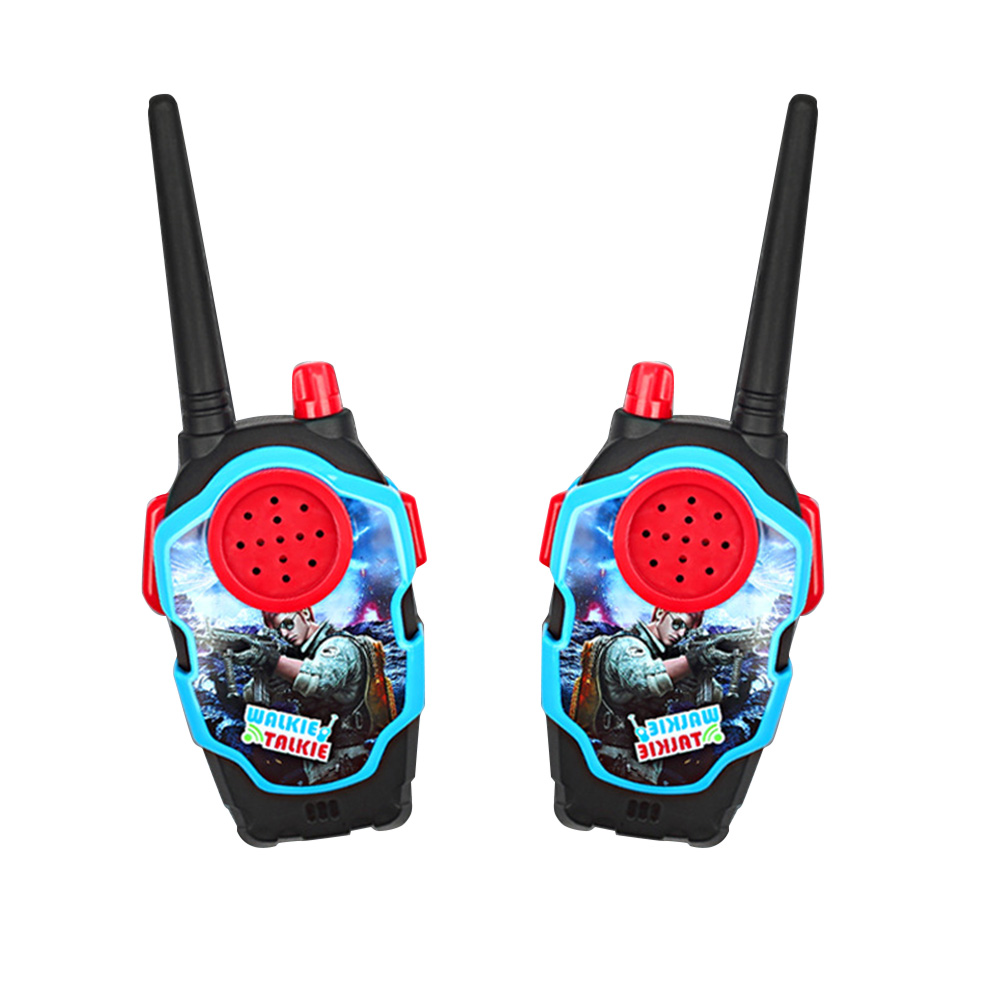1 Pairs of Kids Mini Cartoon Wireless Long Range Walkie Talkie Parent-child Toy Black
