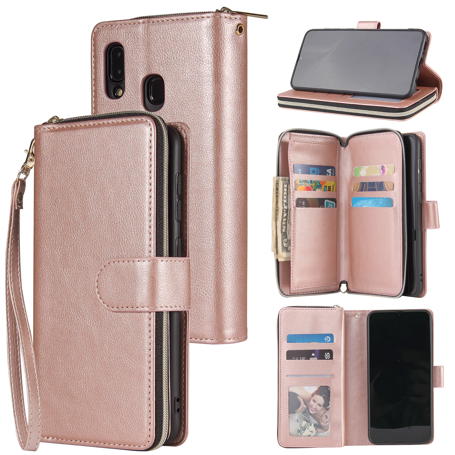 For Samsung A10/A20/A30/A50/A30S/A50S Pu Leather  Mobile Phone Cover Zipper Card Bag + Wrist Strap Rose gold