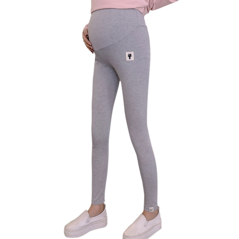 Cute Kitten Pattern Abdomen Support Leggings Trousers for Pregnant Woman  Light gray_XXL