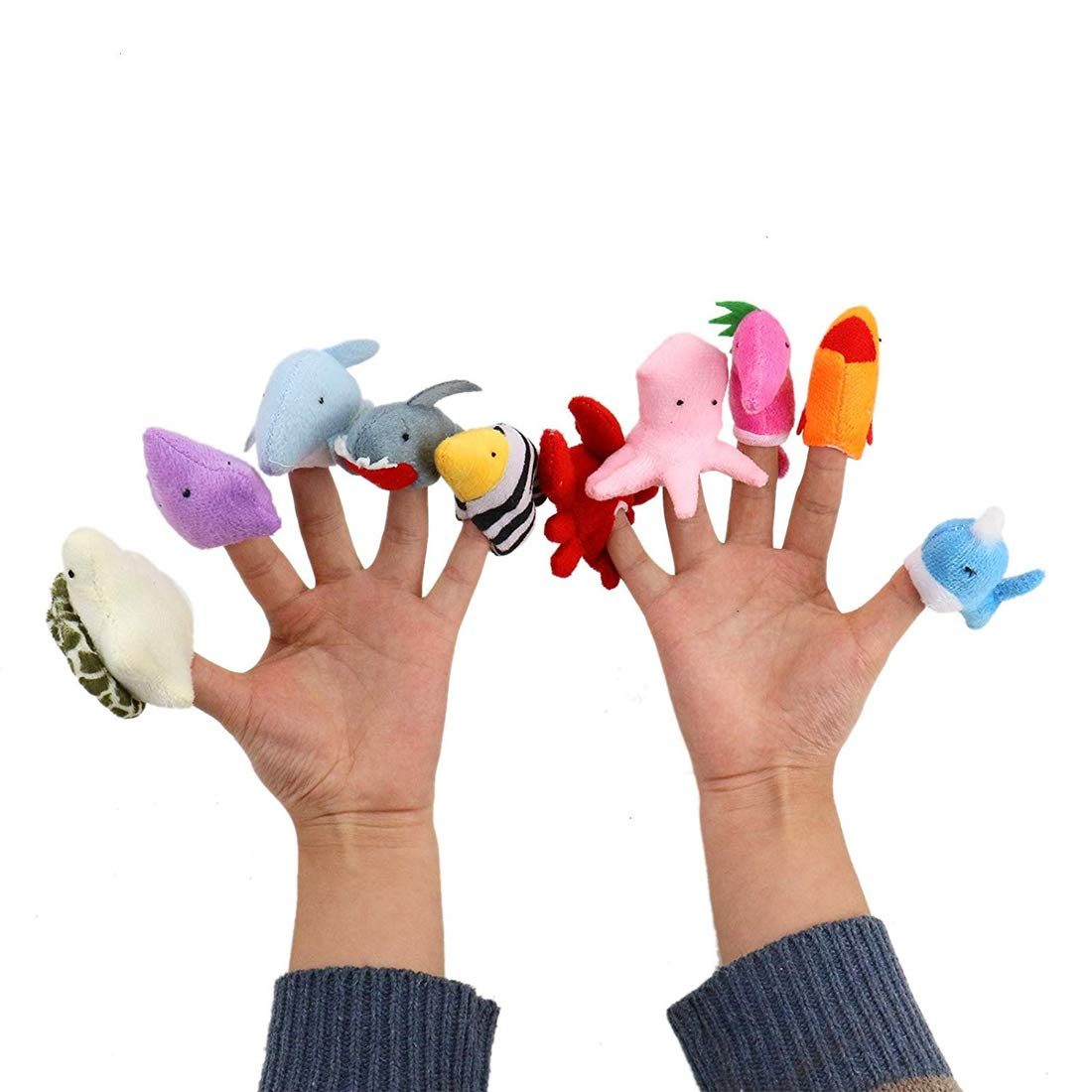 10Pcs Soft Plush Cartoon Marine Animal Shape Finger Puppet Set Toy Kids Story Telling Helper 10pcs