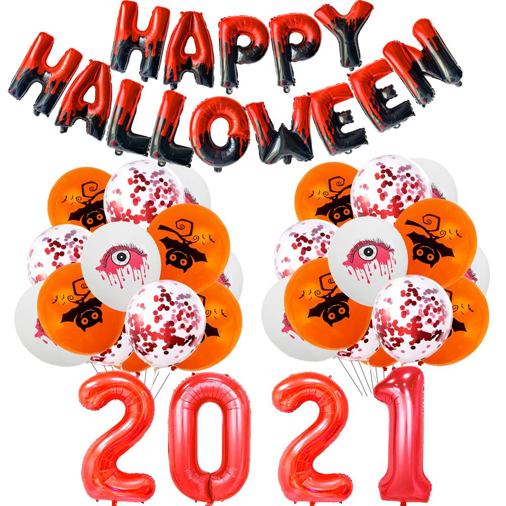 Aluminum  Film  Halloween  Balloon  Decoration  Set Halloween Party Balloon Backdrop Ornament Red number suit