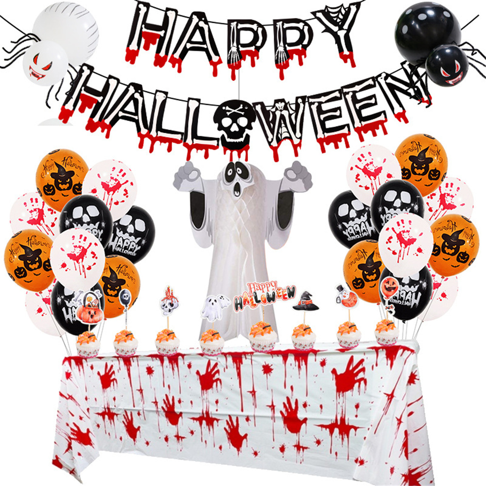 1  Set  Halloween  Party  Decoration Spiders Latex Balloon Colorful Halloween Decoration Tool Blood Hand tablecloth Set