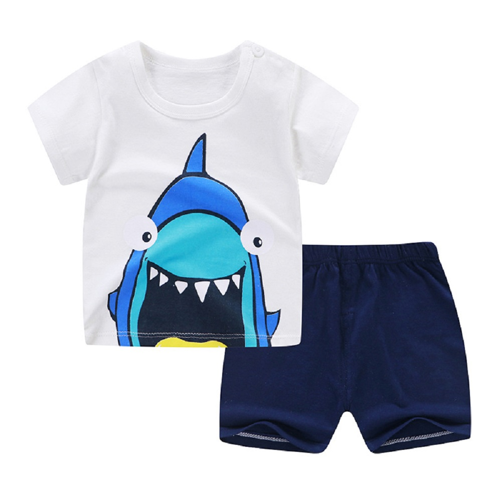 [Indonesia Direct] 2pcs/set Girls Boys Baby Cartoon Printing Short Sleeve Tops+Shorts Summer Suit M03_80cm