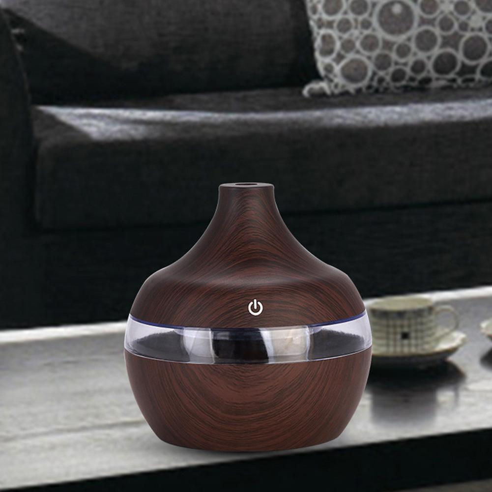 Water Drop Shape Air Humidifier USB Charging Mute Large Capacity Home Humidifier Dark wood grain
