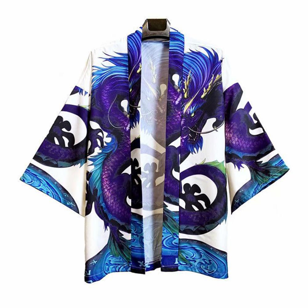 Men's and Women's Coat Robe Cardigan Pattern Print Kimono Road Robe Loose Jacket Without Button White _L