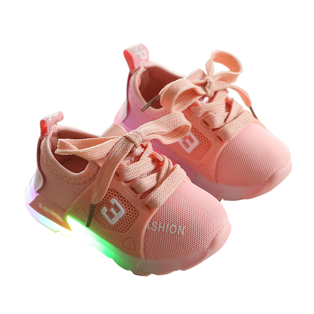 [Indonesia Direct] Baby Infant Boys Girls Fashion Casual LED Luminous Lighting Comfortable Sports Shoes Pink_23