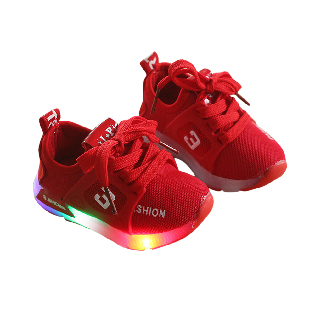 [Indonesia Direct] Baby Infant Boys Girls Fashion Casual LED Luminous Lighting Comfortable Sports Shoes red_23