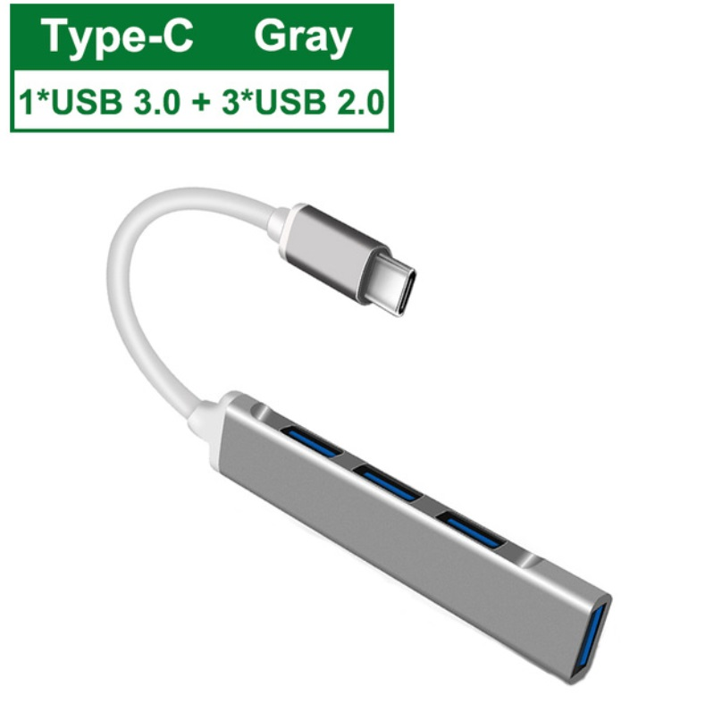 Usb C Hub 3.0 Type C 3.1 4-port Distributor OTG Adapter For Lenovo Macbook Pro 13 15 Air Pro Computer Accessories Gray type-C3.1 interface