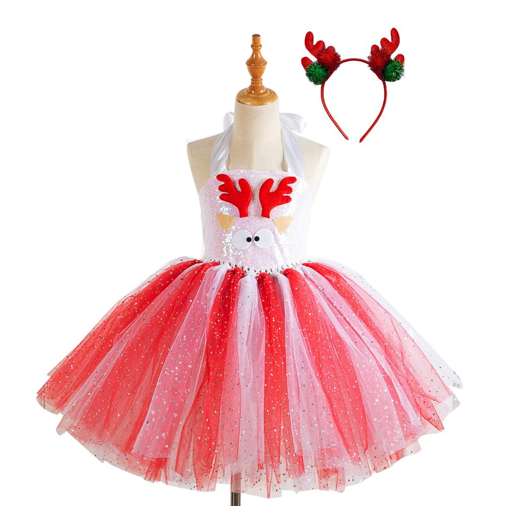 Girls Dress Christmas Net Yarn Princess Skirt + Headwear for 4-12 Years Old Kids HD93421