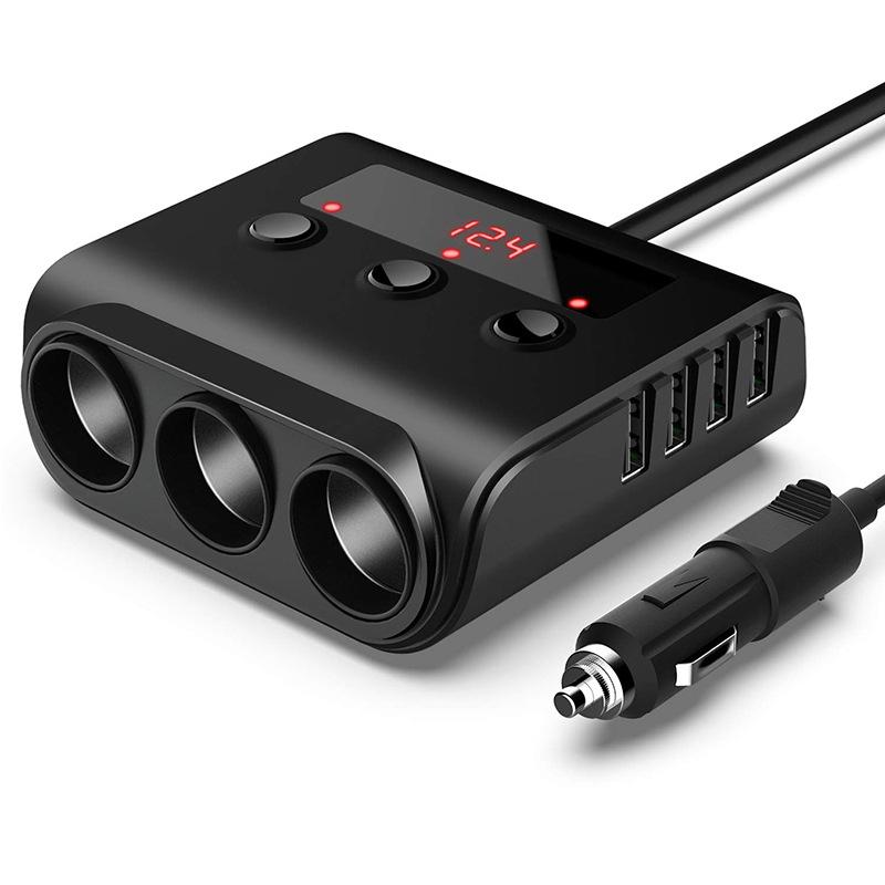 3 Way Car Cigarette Lighter Adapter 12V-24V Socket Splitter Plug LED 4 USB Charger Adapter For Phone MP3 DVR black