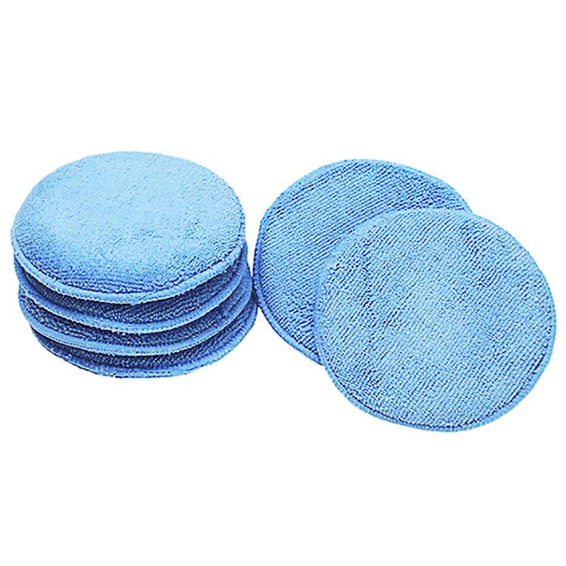 [EU Direct] 12.5cm Ultra-soft Round Microfiber Wax Applicator Pads for Car Polish, Light Blue Light blue