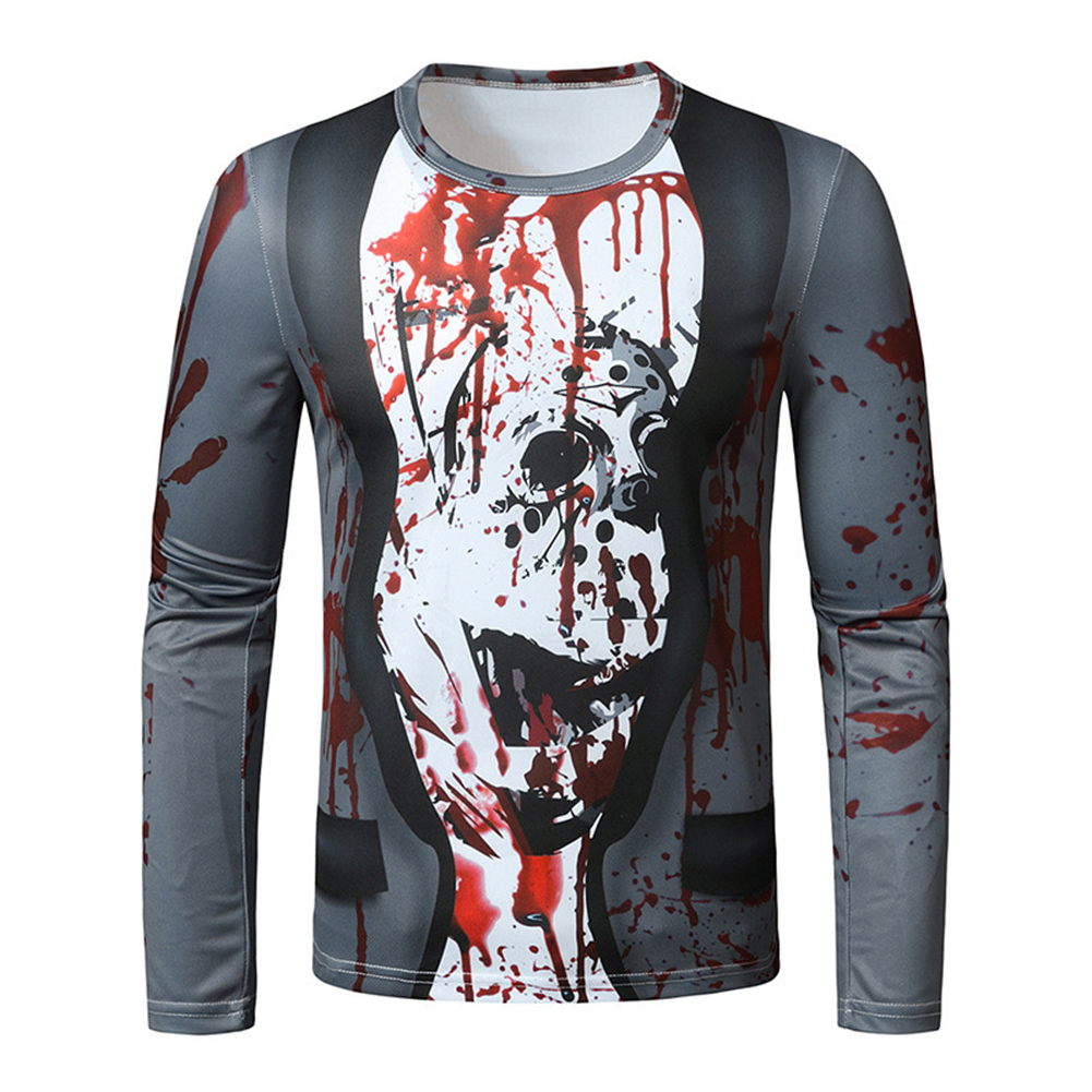 Men Long Sleeved Round Neck Shirt 3d Digital Printing Halloween Series Horror Theme Long Sleeve T-shirt  Gray_XL