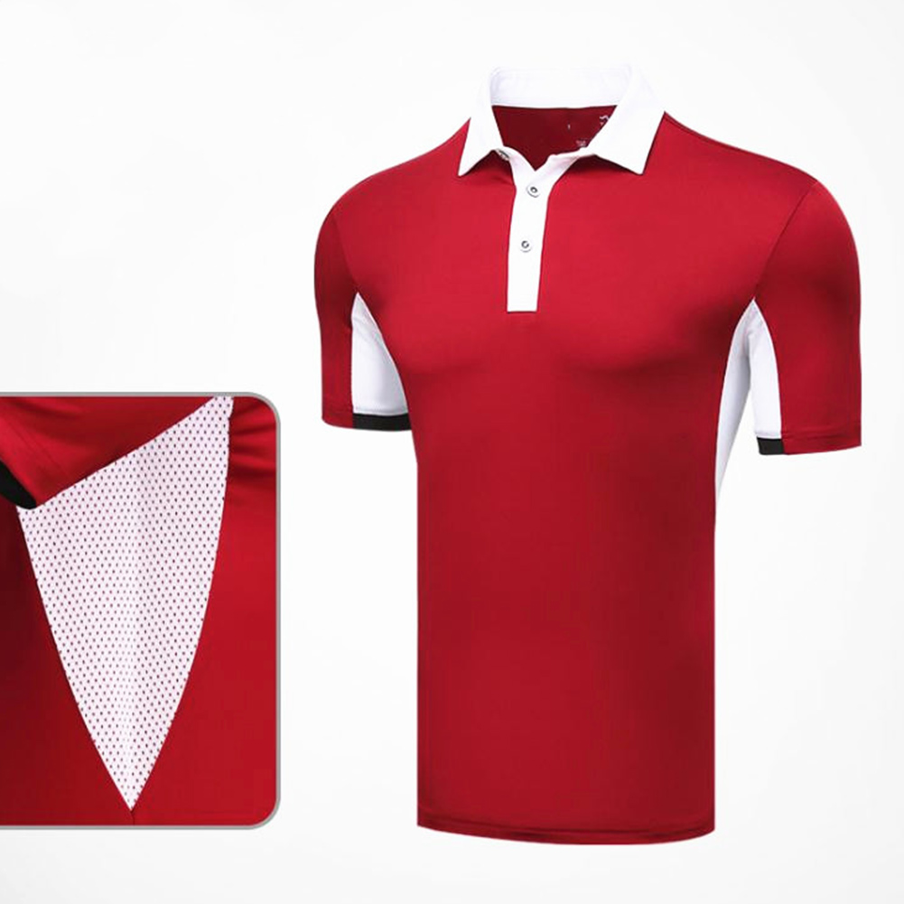 Comfortable Golf Clothes Male Short Sleeve T-shirt Fast Dry and Breathable Shirt YF126 red_M