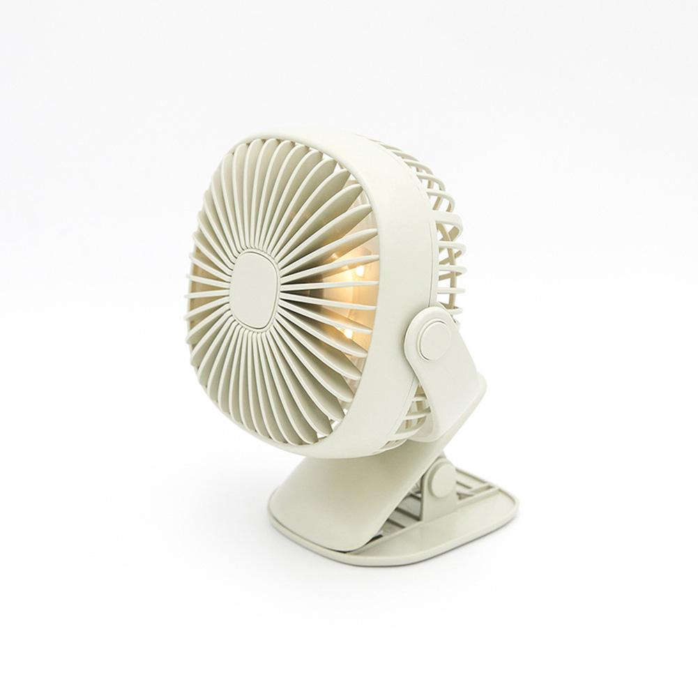 Rechargeable Night Light Clip Fan Free Rotating Mini Small Fan green