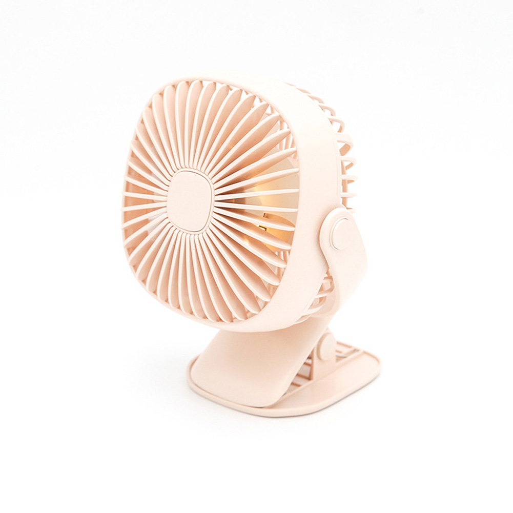 Rechargeable Night Light Clip Fan Free Rotating Mini Small Fan Pink