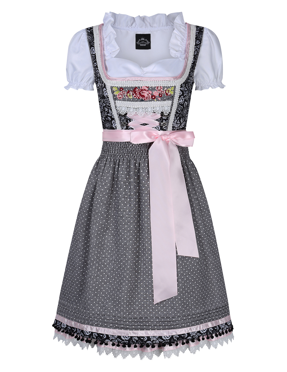 [EU Direct] Women's Embroidery Lace Up Dirndl Dress Three PCS Suits for German Beer Festival Costumes