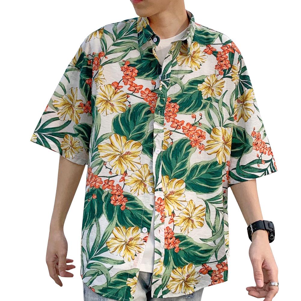 Women Men Leisure Shirt Personality Loose Yellow Floral Printing Short Sleeve Retro Hawaii Beach Shirt Top Summer C104 #_L