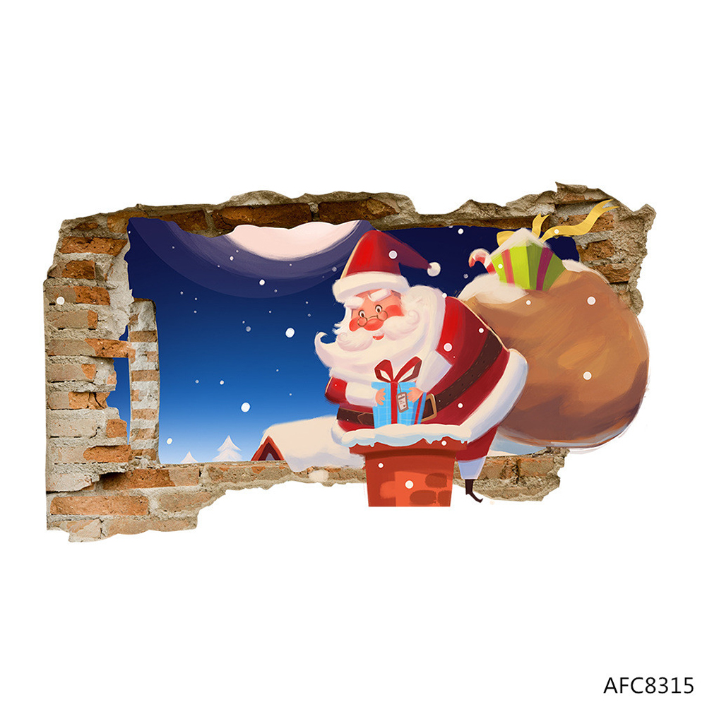 3D Cartoon Santa Claus Floor Wall Sticker for Home Christmas Decor Decal AFC8315