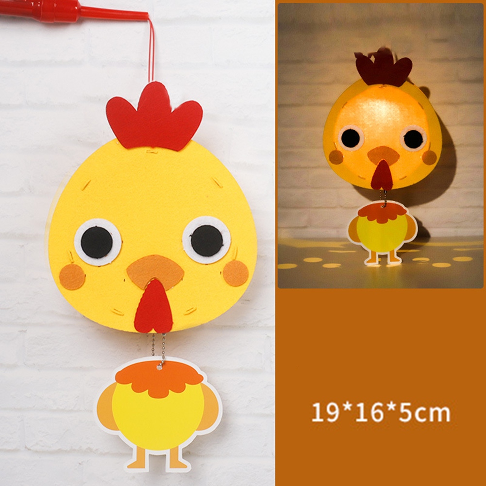 Kids  Handmade  Cartoon Luminous Lantern Diy Portable Puzzle Toy chick_The New