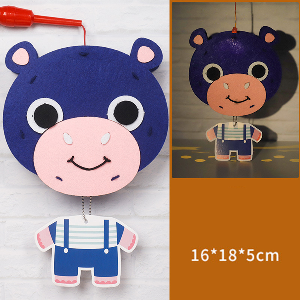 Kids  Handmade  Cartoon Luminous Lantern Diy Portable Puzzle Toy hippo_The New