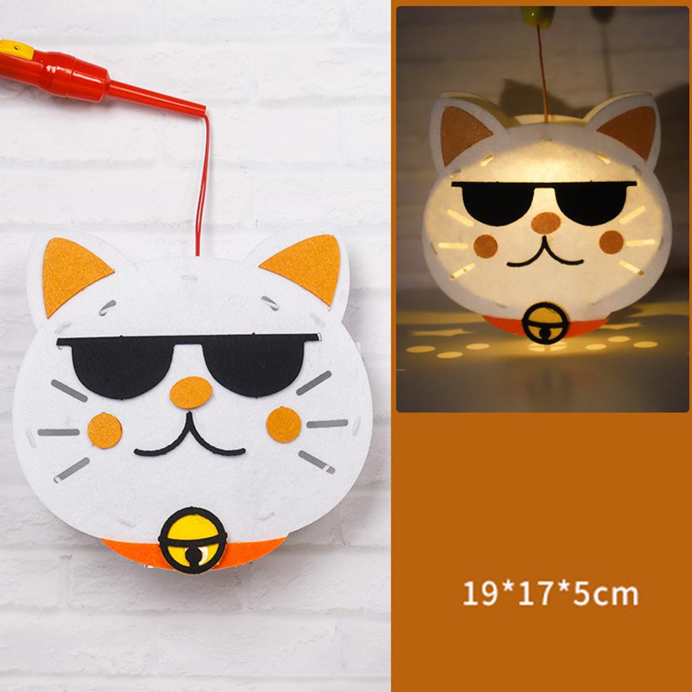 Kids  Handmade  Cartoon Luminous Lantern Diy Portable Puzzle Toy Cool cat_The New