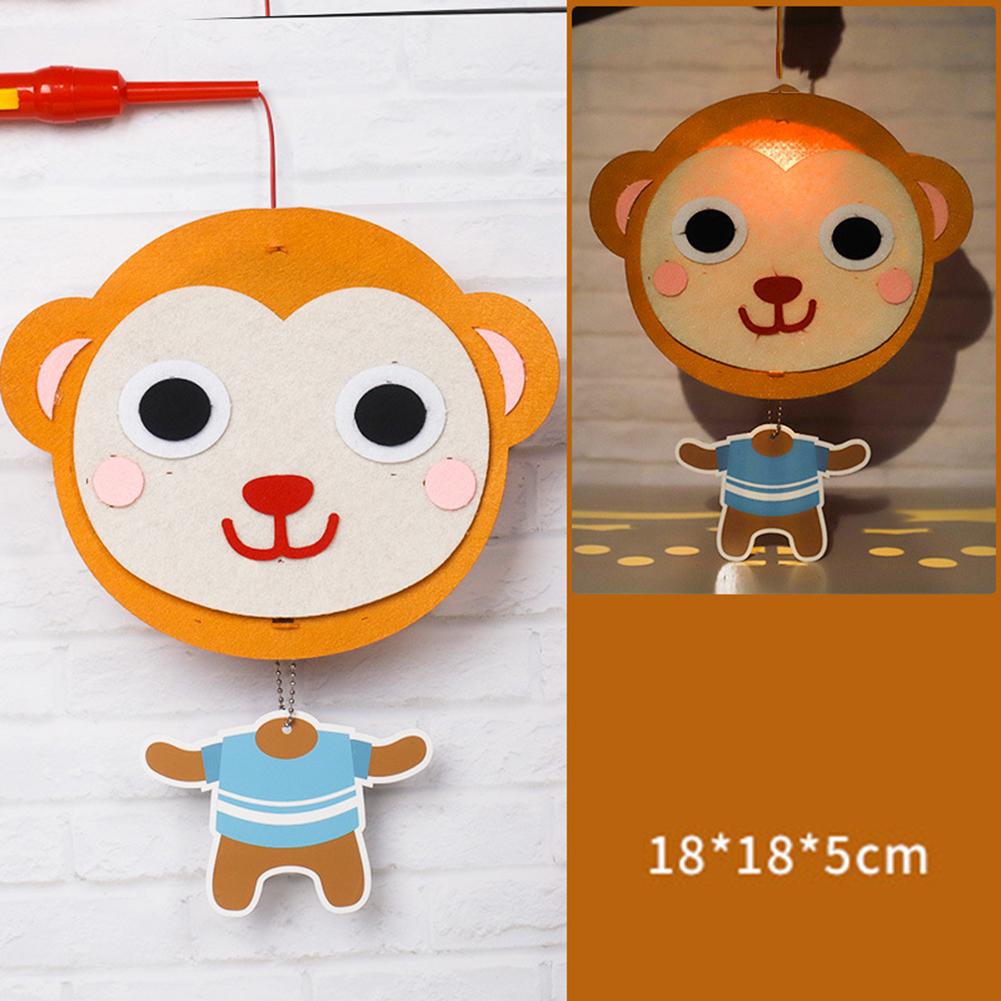Kids  Handmade  Cartoon Luminous Lantern Diy Portable Puzzle Toy little monkey_The New