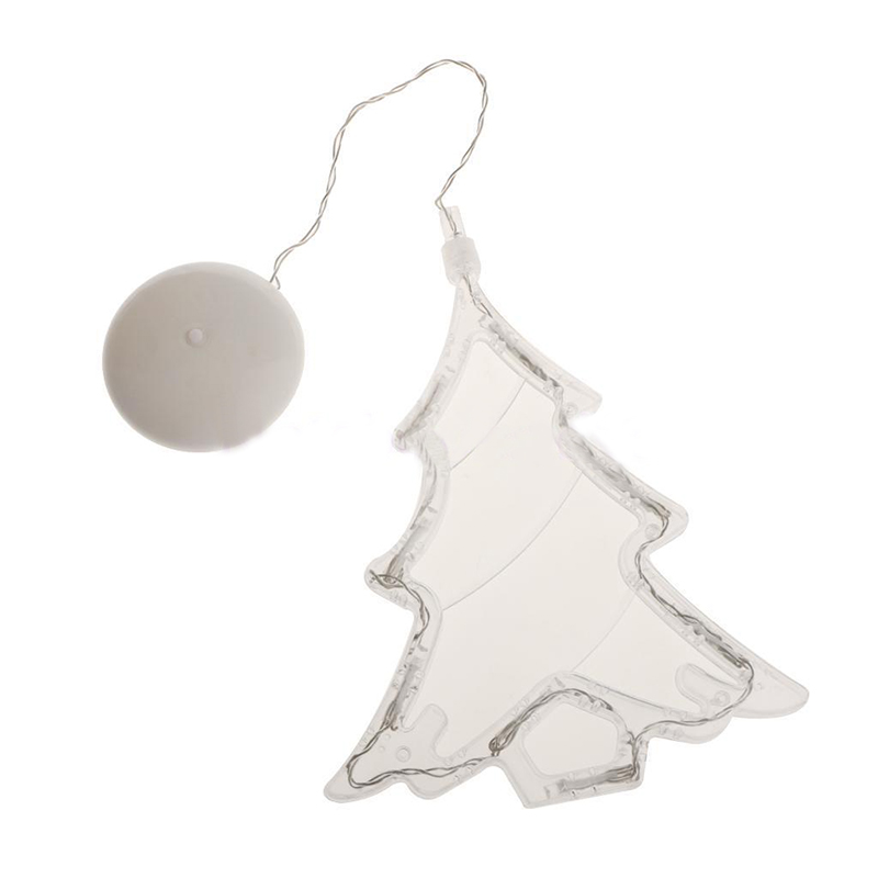 Warm White Christmas Tree Light, 8 LED Spots Sucker Lamp Window Ornament, Indoor Decoration, Battery Operated