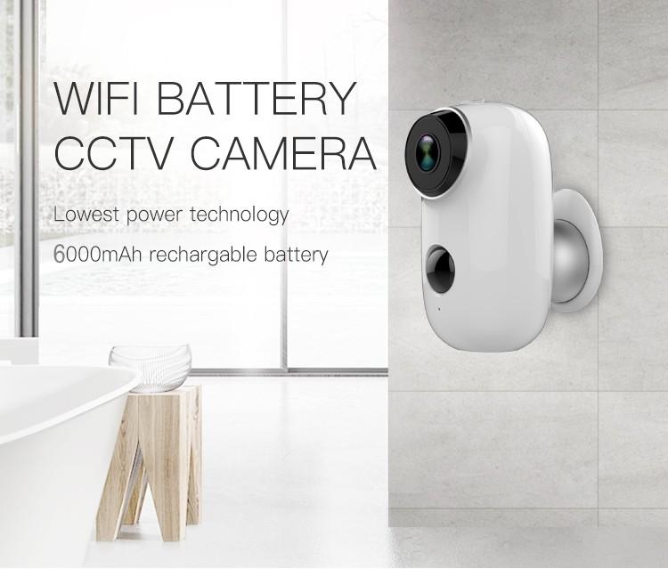 HD 720P WiFi IP Camera Rechargeable Battery Camera PIR Motion Sensor IR Night Vision Camera white
