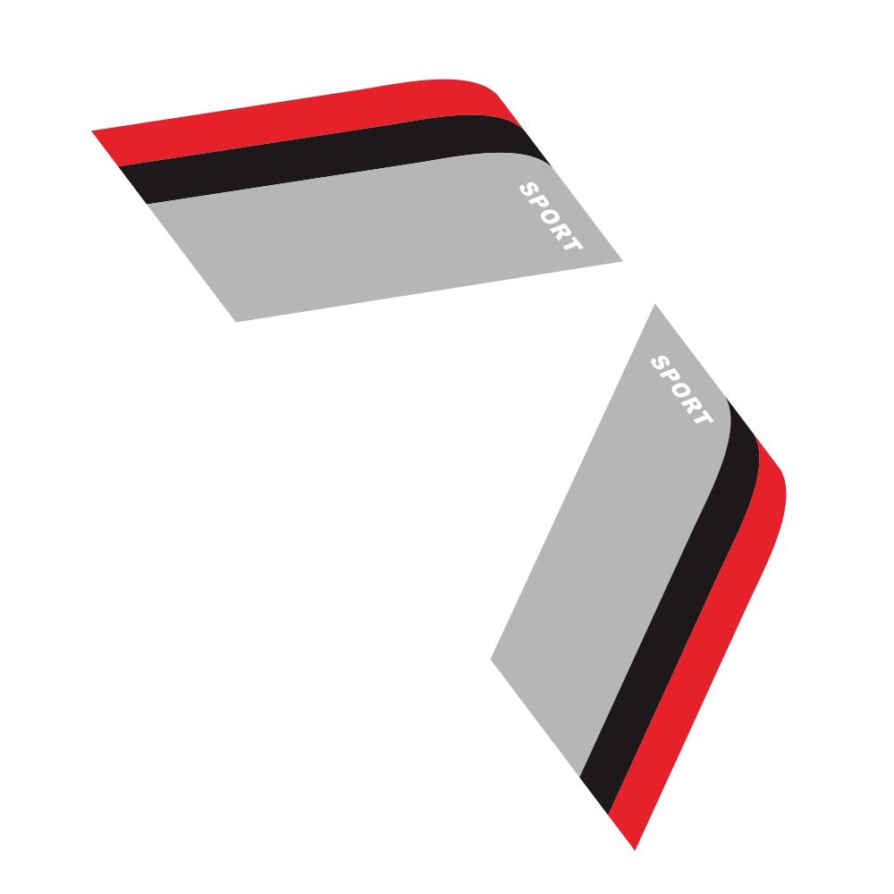 2pcs Car Sticker Decorative Label For Bmw Benz Audi Vw Honda Mazda Black-red-gray For The Three-color Sports Strip Red + Black + Gray