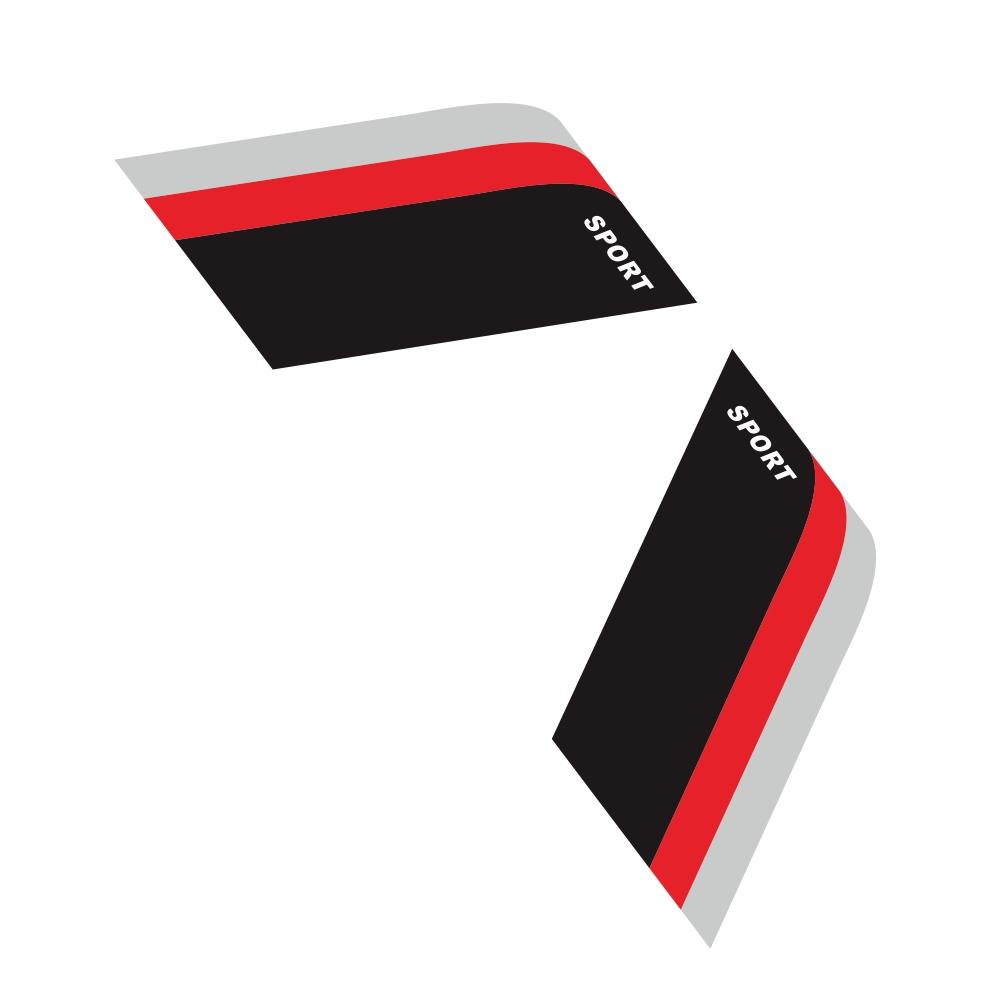 2pcs Car Sticker Decorative Label For Bmw Benz Audi Vw Honda Mazda Black-red-gray For The Three-color Sports Strip Gray + Red + Black