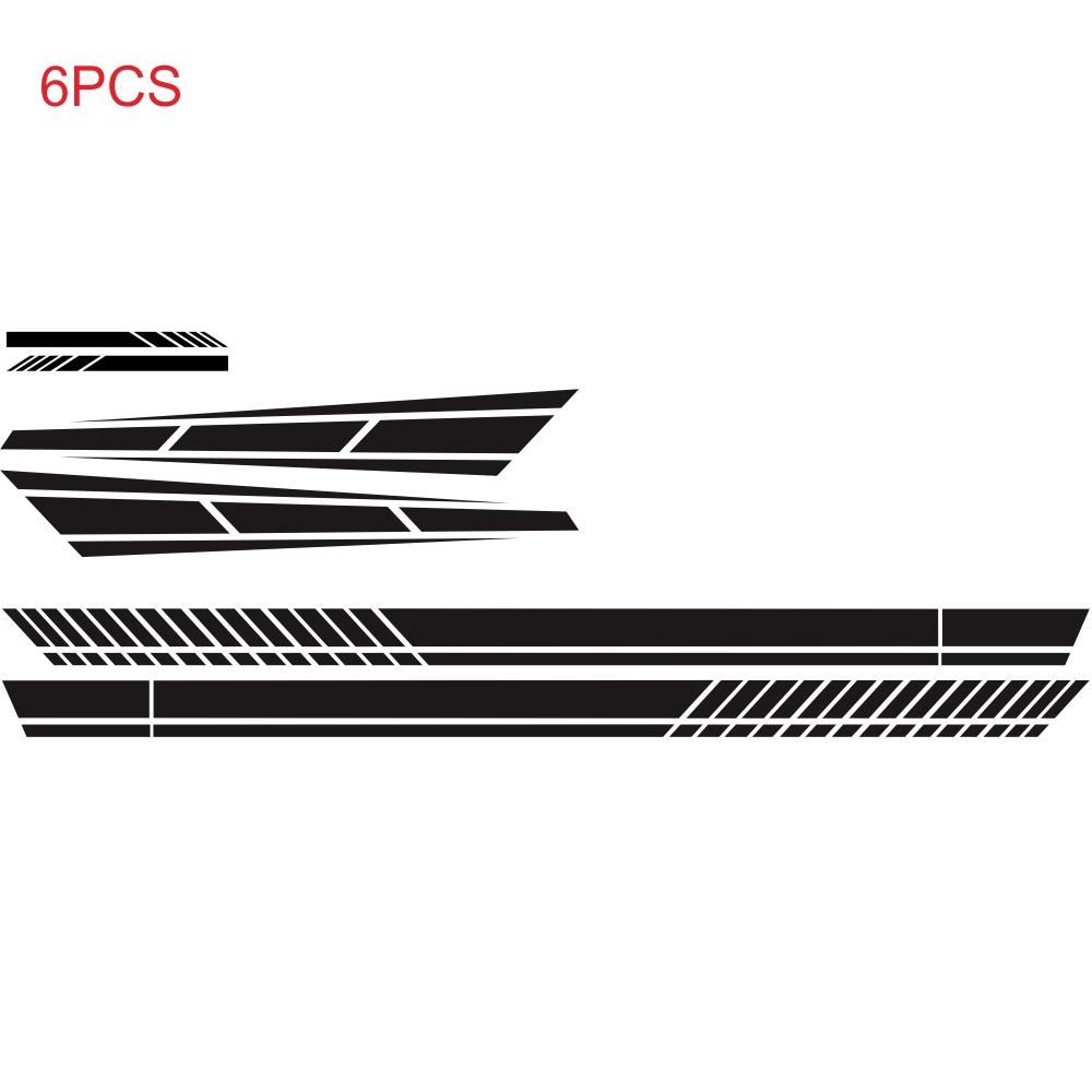 6PCS Long Stripe Graphics Car Racing Side Body Hood Mirror Vinyl Decal Sticker black