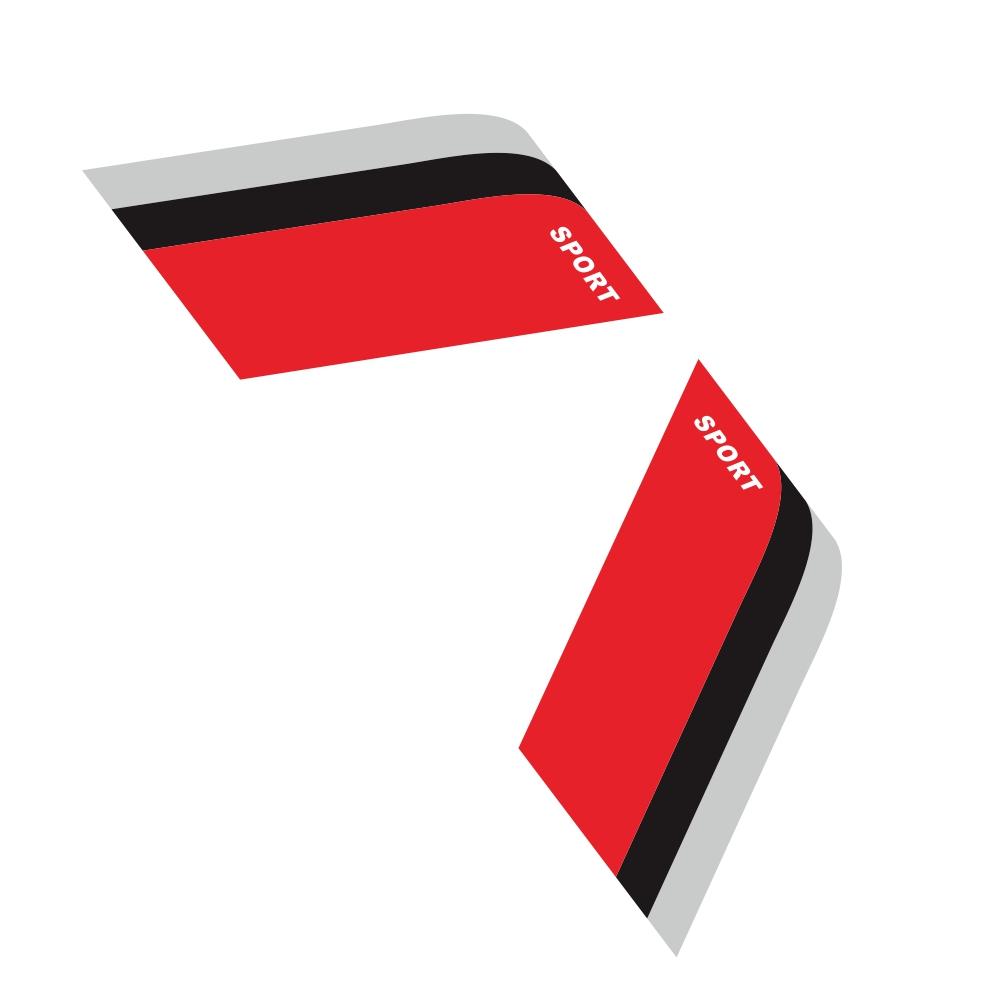 2pcs Car Sticker Decorative Label For Bmw Benz Audi Vw Honda Mazda Black-red-gray For The Three-color Sports Strip Grey + black + red