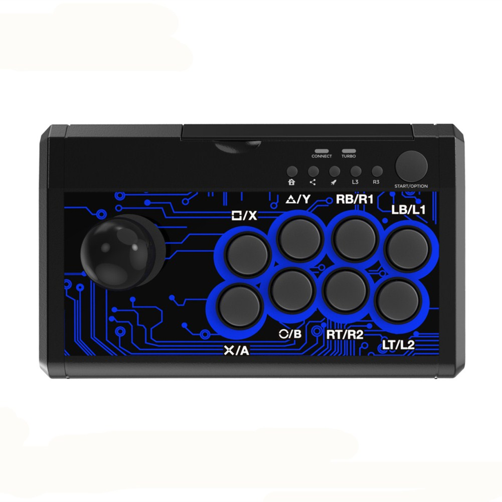 7 in 1 Arcade Fighting Wired Joystick for Switch/PS4/PS3/Xbox/Pc/Android Blue and black