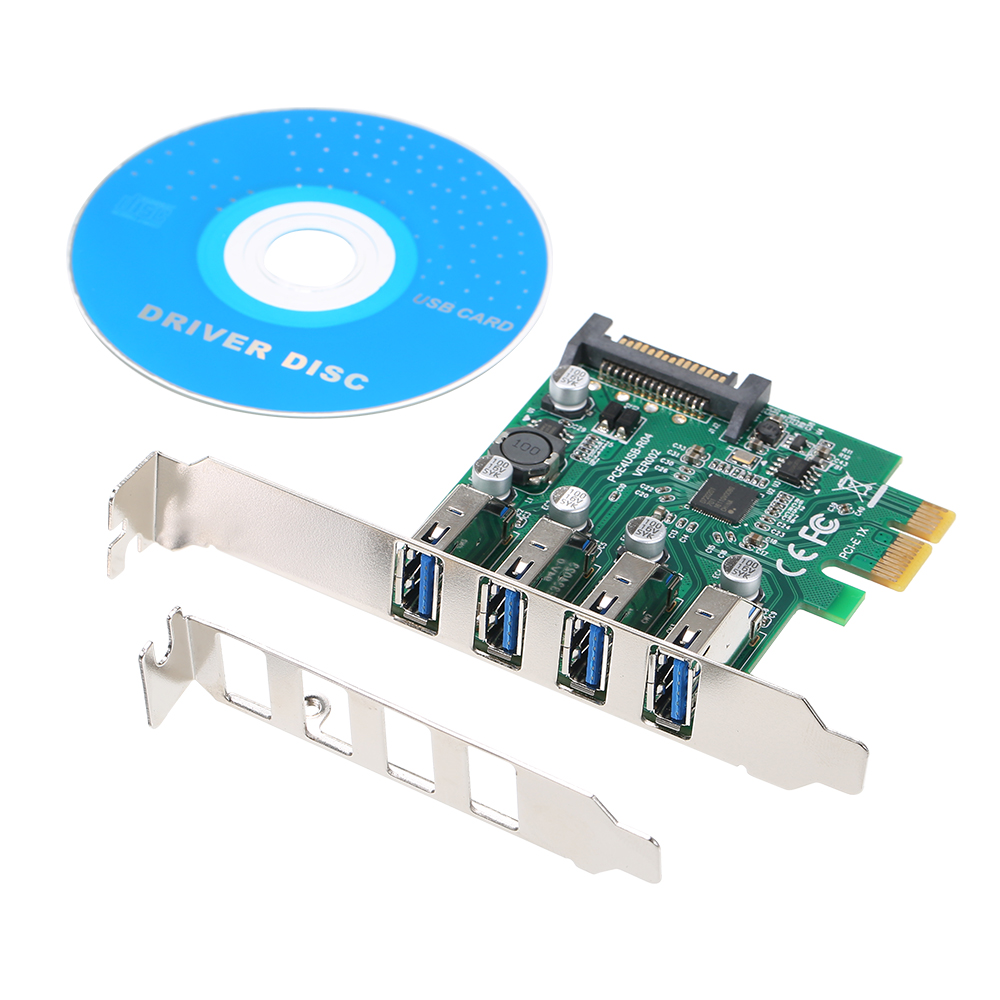4 PCI-E Ports to USB HUB 3.0 PCI Express 5 Gbps Expansion Card Adapter for Motherboard