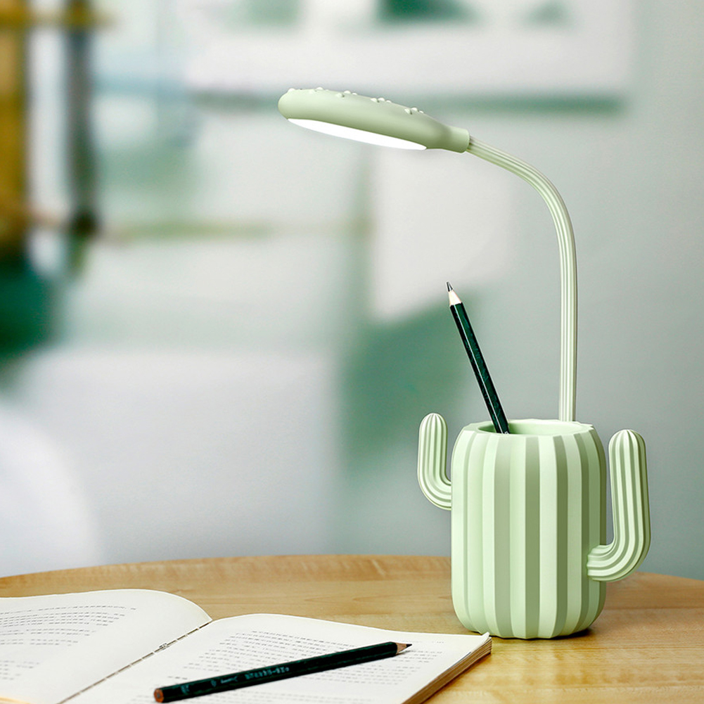Rechargeable Flexible Lamp Cactus Shape with Pen Holder Creative 13 LED USB Touch  Night Reading Light Eye Protective Lamp green